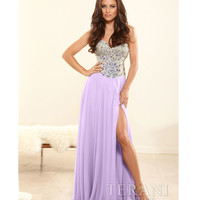 (PRE-ORDER) Terani 2014 Prom Dresses - Lilac Crystal & Chiffon Strapless Sweetheart Gown