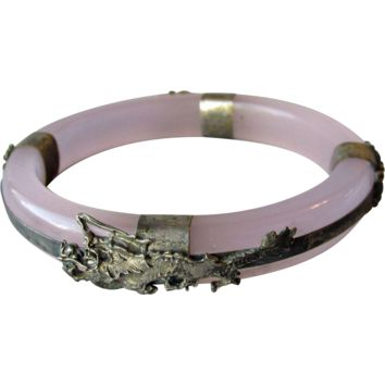 1920's Vintage Chinese Export Bangle Bracelet Faux Lavender Glass Jade with 800 Silver DRAGONS