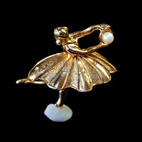 Ballerina Brooch with Cultured Pearl and Rhinestones