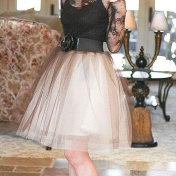 f4ceaa3e3afce6 New Brown Patchwork Grenadine Pleated Plus Size High Waisted Tutu Cute  Homecoming Party Skirt