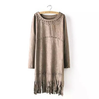 Faux Suede Leather Sleeve Fringed Dress