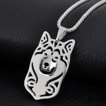 Hallow Out Hippie Alaskan Malamute Jewelry Women Boho Chic Collier Girl Gift Best Friend Necklace 1pc