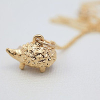 Gold Hedgehog necklace  animal jewelry by moncadeau on Etsy