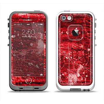 The Red Grunge Paint Splatter Apple iPhone 5-5s LifeProof Fre Case Skin Set