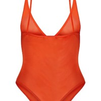 Orange Mesh Zip Front Thong Bodysuit