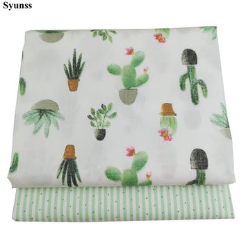 Green Cactus DIY Cotton Fabric Quilting Patchwork Scrapbooking Home Textile Decoration Bedding Clothing Doll Sewing Cloth Syunss