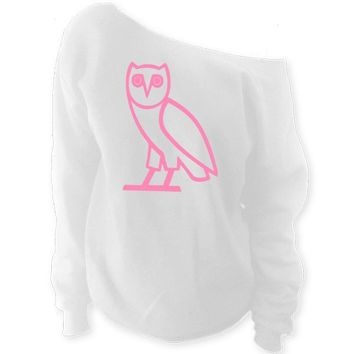 oVo Owl Off-The-Shoulder Oversized Slouchy Sweatshirt
