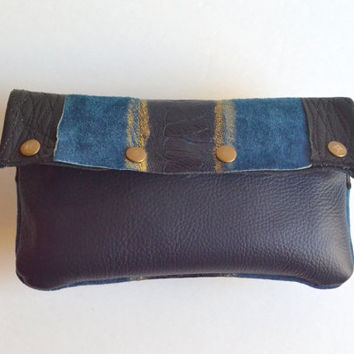 Upcycled Leather Clutch - OOAK Leather Clutch - Fold Over Leather Clutch Pouch