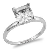 A Perfect 2CT Asscher Cut Solitaire Russian Lab Diamond Engagement Ring