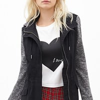 FOREVER 21 Marled Knit Combo Jacket Black/Charcoal