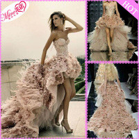 Source 2013New Sexy Organza Sweetheart Beaded Feather Short Front Long Back Pink Wedding Dresses on m.alibaba.com