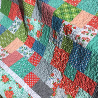 Handmade Lap Quilt, Twin Size Quilt, Dorm Quilt, Quilted Throw Blanket, Oversized Lap Quilt, Mint Orange Blue Floral Quilt, Floral Lap Quilt