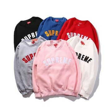 VONERE1 Supreme Embroidered Street Tide Licensing Round Neck Hedging Loose Male And Female Couples Super Soft Plus Cashmere Sweater