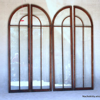1880s Greenhouse Doors Set of 4 French Door Arch Style, Original Glass