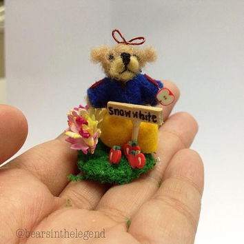 1 inch scale dolls house needle felted snowwhite teddy bear handmade miniature tiny ooak soft sculpture  in natural wool , ready to ship