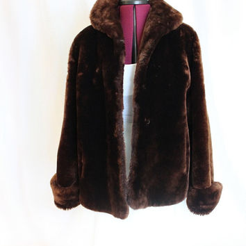 Vintage 1960s Chocolate Brown Shearling Fur Coat