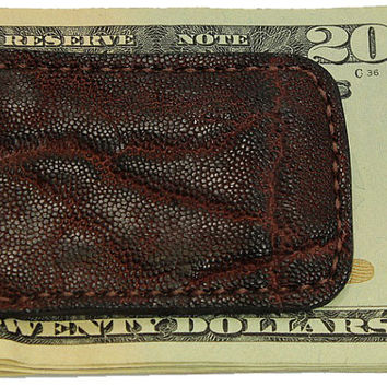 Genuine Elephant Leather Money Clip in Dragon's Breath Color - Free Shipping to USA