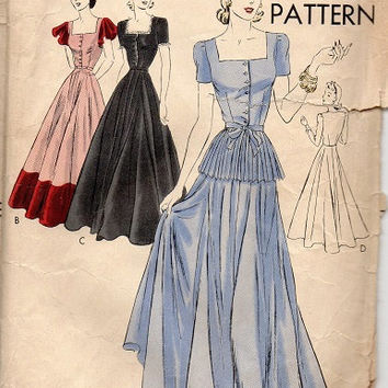 Rare 1940s Vogue Sewing Pattern 8844 Evening Gown Formal Party Dress Peplum Full Circle Skirt Wedding Debutante Bust 34
