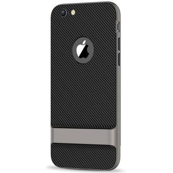 DCCKRQ5 JETech Case for Apple iPhone 6 6s, Slim Protective Cover with Shock-Absorption, Carbon Fiber Design, Grey