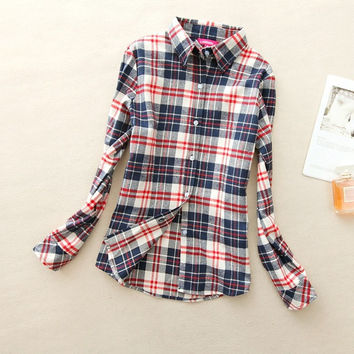 Red White Blue All Sizes Women's Plaid Shirt 2017 Chic, Slim Long Sleeve. Easy Vintage