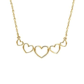 Graduated Heart Necklace in 14k Yellow Gold, 17.25 Inch