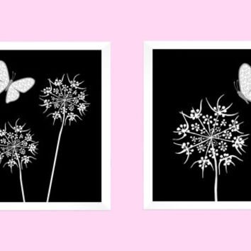 White Floral with Gray Butterflies on Solid Black CUSTOMIZE YOUR COLORS, 8x10 Prints, Nursery Decor Print Baby Room Bathroom Livingroom Art