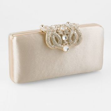Small Satin Box Bag With Fold Over Brooch Closure