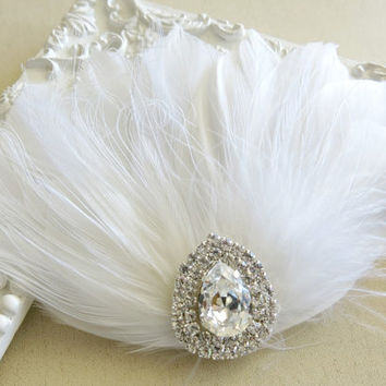 White Peacock  Feather Bridal Head Piece Feather Fascinator Vintage Wedding Hair Piece Rhinestone, Hair Accessory