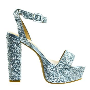 Admire09 by Bamboo Glitter Block Heel Platform Open Toe Strappy Evening Party Dress Sandal