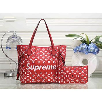 LV Louis Vuitton & Supreme Fashion New Style Women Leather Handbag Bag Cosmetic Bag Two Piece Set Red I-LLBPFSH
