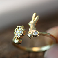 Bunny Clover Ring Rabbit Ring Adjustable Free Size Open Wrap Ring gift idea Gold Silver Plated