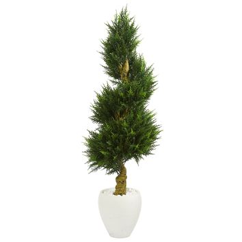 5' Cypress Spiral Artificial Tree in White Oval Planter UV Resistant (Indoor/Outdoor)