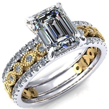 Lizette Emerald Moissanite 4 Claw Prong 3/4 Eternity Milgrain Diamond Shank Engagement Ring
