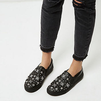 Black textured diamante plimsolls - plimsolls / trainers - shoes / boots - women
