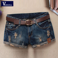 Hot Sale 2016 Summer Shorts Women Vintage Club Denim Shorts Sexy Hip Hop Skull Patch Plus Size Ripped Shorts Without Belt