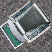 Smart Money Clip - Stainless Steel - Engraved Groomsmen Gifts - Personalized Gift for Men - Corporate - (179)