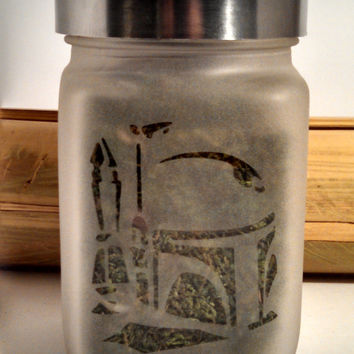 Boba Fett Etched Glass Stash Jar - Star Wars Inspired- Free UPGRADE to Priority Shipping within the US