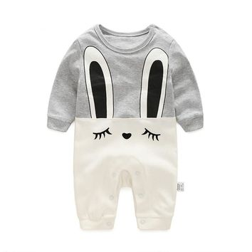Autumn newborn baby long-sleeved leotard climbing clothes thin section newborn baby coveralls Romper cotton cartoon clothes