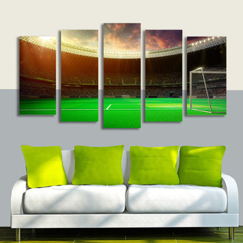 Football Playground World Cup 5 Panel Painting Picture for Living Room Soccer Fan Home Decor Wall Art Canvas Prints Unframed