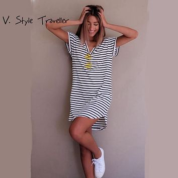 Casual Striped Dress V Neck Women Cotton Straight Long T Shirt Top Tee Boho vestido Summer Style Beach Wear Preppy Desses