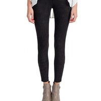 Suede Zipper Bottom Leggings