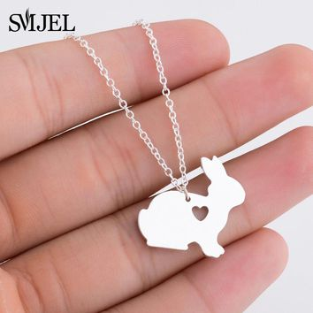 SMJEL Cute Animal Rabbit Charm Necklaces Choker Collier Lovely Bunny Heart Necklace Children Girl Jewelry Birthday Gifts