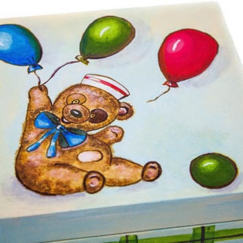 Teddy Bear jewelry box. acrylic painting. decorations