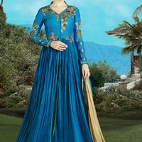 Blue and Gold Embroidered Anarkali Suit