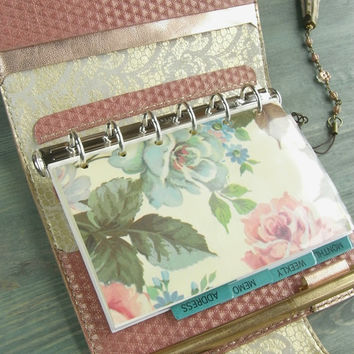 leather binder - coral pink quilting, gold foil lace, refillable journal planner, locked diary, rose paper - handstitched