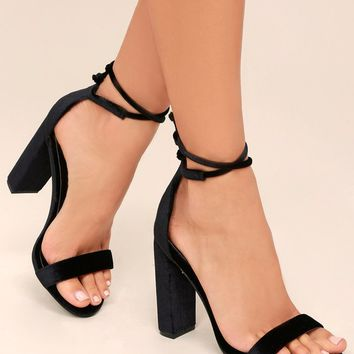 Gracie Black Velvet Lace-Up Heels