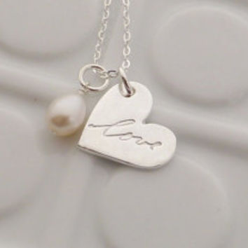 Custom Handwriting Fine Silver Necklace - - Written on my Heart - Memorial - Made to Order