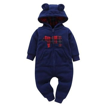 Hoodies Rompers Baby Boy Girl Fleece Romper Winter Thick Jumpsuit Roupa Infantil Printed Pattern Jumpsuits Clothes