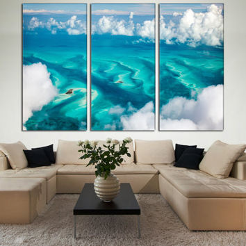 Modern Art Kitchen Decor 3 Panel Unique Wall Home Nature Sea Print