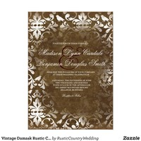 Vintage Damask Rustic Country Wedding Invitations from Zazzle.com